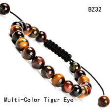 Women Men Hand Braided Tiger Eye's Stone Healing Beads Adjustable Bracelets Gift