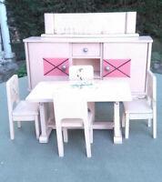 Mobilier poupée : buffet table 4 chaises