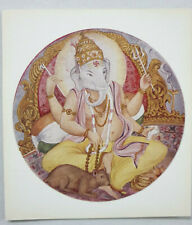 India Vintage Label LORD GANESHA WITH MOUSE 4.25in x 4.75in