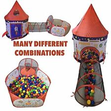 Playz 3pc Rocket Ship Astronaut Kids Play Tent, Tunnel, & Ball Pit with Basketba