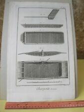 Vintage Print,CHARPENTE,Diderot Occupation,Machinery,c1770-80,Pl.46