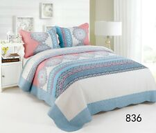 100% Cotton Reversible  Quilted Bedspread/Coverlet Queen Size  3pcs Set 836