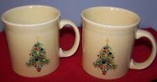 SET OF 2 NEW FIESTAWARE IVORY CHRISTMAS TREE JAVA MUGS COFFEE CUP MUG FIESTA