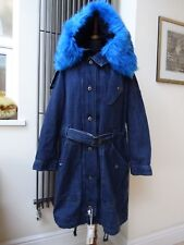 Diesel Women's Denim Winter Coat Parka Jacket Blue Faux Fur Size L Uk 14/16 New