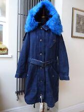 Femme Diesel Denim Manteau Hiver Parka Bleu fourrure synthétique Taille L UK 14/16 New