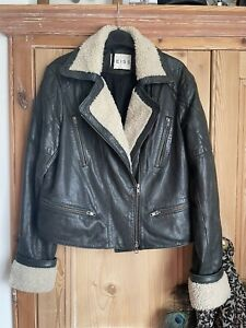 Reiss Shearling Aviator Leather Jacket Size Medium
