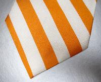 BROOKS BROTHERS Orange White Repp Stripe Silk Tie ~ MSRP $79.50 ~ NEW NWT