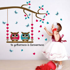 Lovely Decals Cartoon Owl Birds Branch Removable Child Decor Mural Wall Sticke