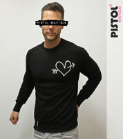Pistol Boutique Men's Black CHEST DOODLE ARROW HEART Raglan Sweatshirt Jumper