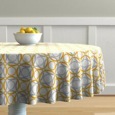 Round Tablecloth Circles Orange Abstract Geometric Cotton Sateen