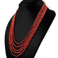 285.00 CTS NATURAL 5 STRAND RICH ORANGE CARNELIAN ROUND FACETED BEADS NECKLACE