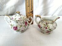 Vintage Antique Lefton China NE794R Roses Hand Painted Miniature Sugar & Creamer