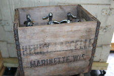 (6) Henry Lascelle Seltzer Water antique/vintage bottles w/crate Marinette WI .b