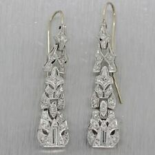 1930's Antique Art Deco Platinum 0.50ctw Diamond Drop Filigree Earrings
