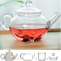 Heat Resistant Clear Glass Teapot With Infuser Coffee Tea Leaf Herbal Pot 250ml