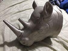 """10"""" Large Metal Wall Mounted Rhino Head Made In India"""