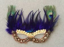 New Mardi Gras Sequin Multicolor Feather Mask