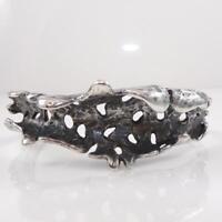 Vintage Sterling Silver Artisan Signed Modernist Brutalist Cuff Bracelet LFC6