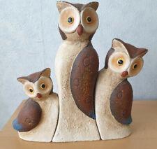 Ausdrucksstarke Eulenfamilie aus Ton, drei wunderschöne Figuren, tolle Farben