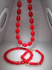 Vintage 1970'S Cherry Red Lucite Necklace & 2 Braclets! Minty!