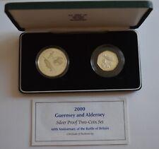 More details for 2000 battle  britain guernsey & alderney silver proof £5 & 50p silver proof set