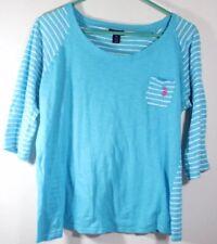 US Polo Assn women Blue top shirt Short Sleeve tee striped Size XL (1)