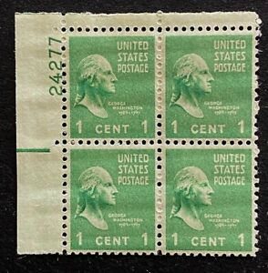 US Stamps, Scott #804 1c Plate block VF M/NH. 1938 Presidential Issue.