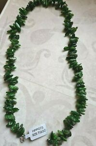 Emerald colour nugget bead necklace 20 inch long Sterling Silver clasp Gemporia