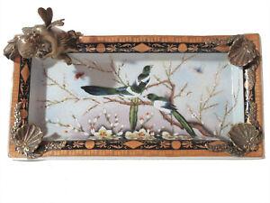 Porcelain Bronze Bowl with Angel Art Nouveau Antique Ornamental - 20342