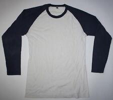 Men's AMERICAN APPAREL Navy Blue White Baseball Long Sleeve Cotton Shirt - XL