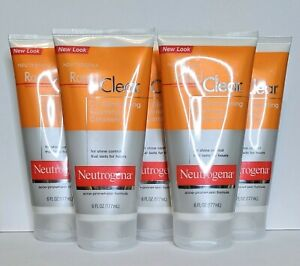 5x Neutrogena Rapid Clear Oil Eliminating Foaming Cleanser Acne Prone 6 oz each
