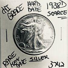 1938 D LIBERTY WALKING SILVER HALF DOLLAR HI GRADE U.S. MINT RARE COIN 3742