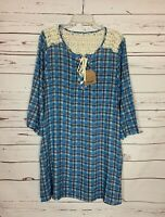 Kori America Boutique Women's L Large Blue Plaid Lace Spring Dress NEW With TAGS