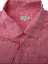 TED BAKER Shirt Mens 16 M Pink - White Check SHORT SLEEVE