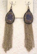 LUCKY BRAND EARRINGS, PAVE CRYSTAL PEACOCK EYE OF FEATHER, GOLD FRINGE, NWT $45