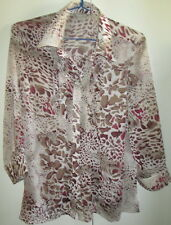 Ladies Noni B Size 14 Light Sheer Top Button Front