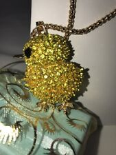 Betsey Johnson Necklace Chicken Chick Yellow Crystals Bling Adorable Gift Box