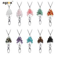 Lanyard Pendant Necklace Multi Color Crystal Stone Wisdom Tree Of Life XL0146