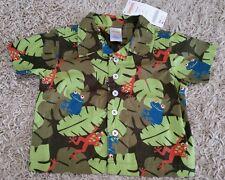 NWT Gymboree Infant Boys 3-6 MONTH Short Sleeve Button Shirt Frog JUNGLE 320714