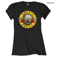 Official Skinny GUNS N ROSES T Shirt Top Classic Bullet LOGO Black All Sizes