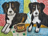 Appenzeller Sennenhunde Drinking Coffee 8 x 10 Dog Pop Art Print by Artist KSams