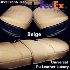 Beige Car Seat Covers Pad Full Set-Driver & Passenger Bottom+Rear Row Of Benches