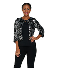 Bob Mackie's 3/4 Sleeve Sequin Cardigan and Knit Tank Set size MED