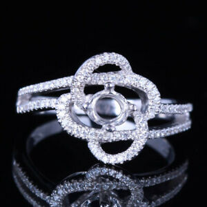 Pave Diamond Setting Sterling Silver Engagement Semi Mount Ring 5mm Round Cut