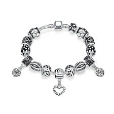 New 925 Sterling Silver Charm Bracelet With Clear Accent Beads FAST FREE SHIP