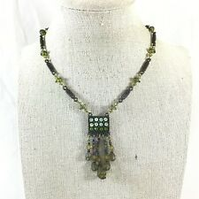 "Shades of Green Rhinestones & Glass Bead Dangles Pendant Necklace 13""-16"" Long"