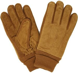Men's Heavy Duty Fleece Lined Faux Suede Warm and Thick Winter Gloves