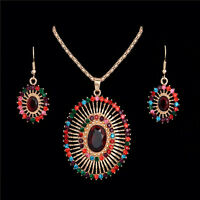 New Woman Crystal Hollow Gold Plated Oval Necklace Pendant Earrings Jewelry Set