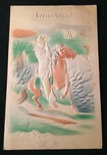RARE Hand Colored INDIANS! 1908 EMBOSSED Postcard North Dakota Postmark
