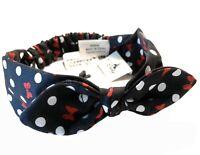 Disney Parks Minnie Polka Dot Bow Elastic Stretch Cloth Headband Headwrap - NEW